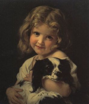 """Girl with a Spaniel"" Hughes Merle"